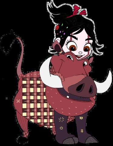 File:Vanellope dressed as Pumbaa 4.png