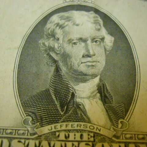 Jefferson on the 2 dollar bill