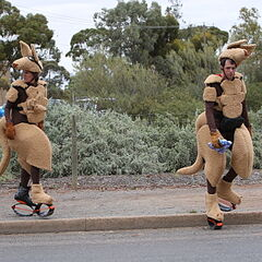 Margie &amp; Luke hopping around in their Kangaroo suits in <a href=