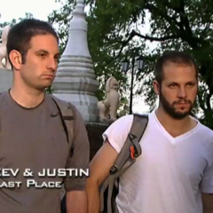 Zev & Justin were eliminated from the race in 9th place after they couldn't find Zev's lost passport.