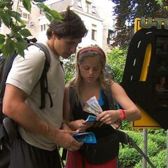 Trey &amp; Lexi reading their next clue after using the second <a href=