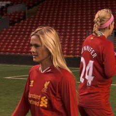 Caroline & Jennifer wearing Soccer uniforms.