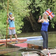 Adam &amp; Bethany punting across the river in <a href=