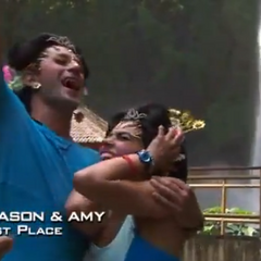 Jason & Amy celebrating that they gotten the first place finish they wanted so badly.