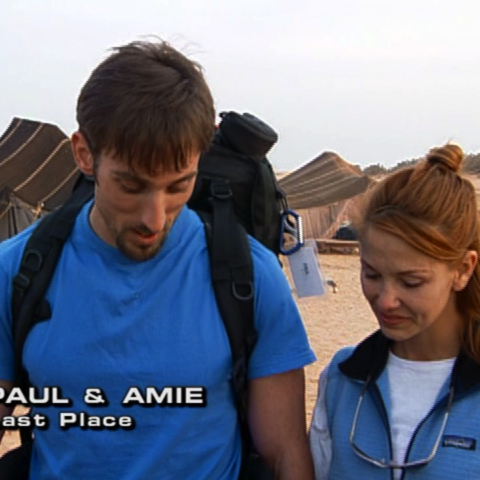 Paul & Amie were eliminated from the race in 7th place after being lost in the desert for hours.