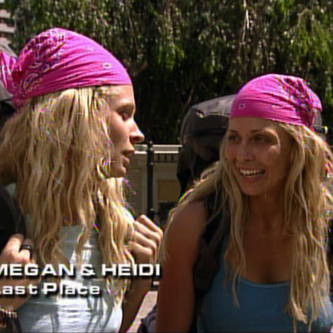 Megan & Heidi were eliminated from the race in 10th place after losing in a footrace to their fellow competitors Brian & Greg.