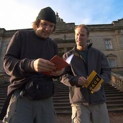 Bates &amp; Anthony reading the clue for the <a href=