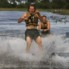 Bates & Anthony waterskiing for the Fast Forward.