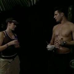 Dallas and Starr flirt at the overnight rest point at 19º Batalhão de Caçadores Military Base in Brazil.