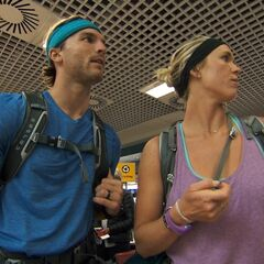 Adam &amp; Bethany at the airport to get to their next destination in <a href=