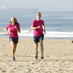 Denise &amp; James Earl running to the <a href=