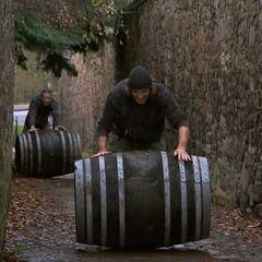 Bates &amp; Anthony doing the <i>Whiskey Rollin</i> Detour in Leg 10.