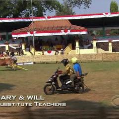 Gary &amp; Will racing bulls in <a href=