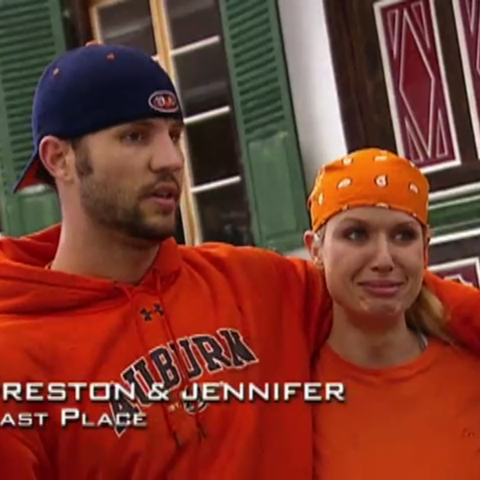 Preston & Jennifer were eliminated from the race in 11th place after losing a footrace.