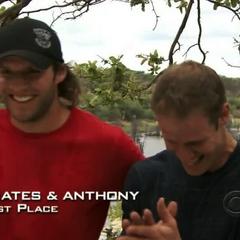 Bates & Anthony have won the sixth leg.