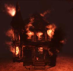 Burning Liddell house