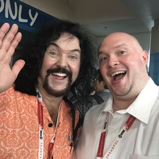 Wally with Jon Bailey at 2015 San Diego Comic-Con.