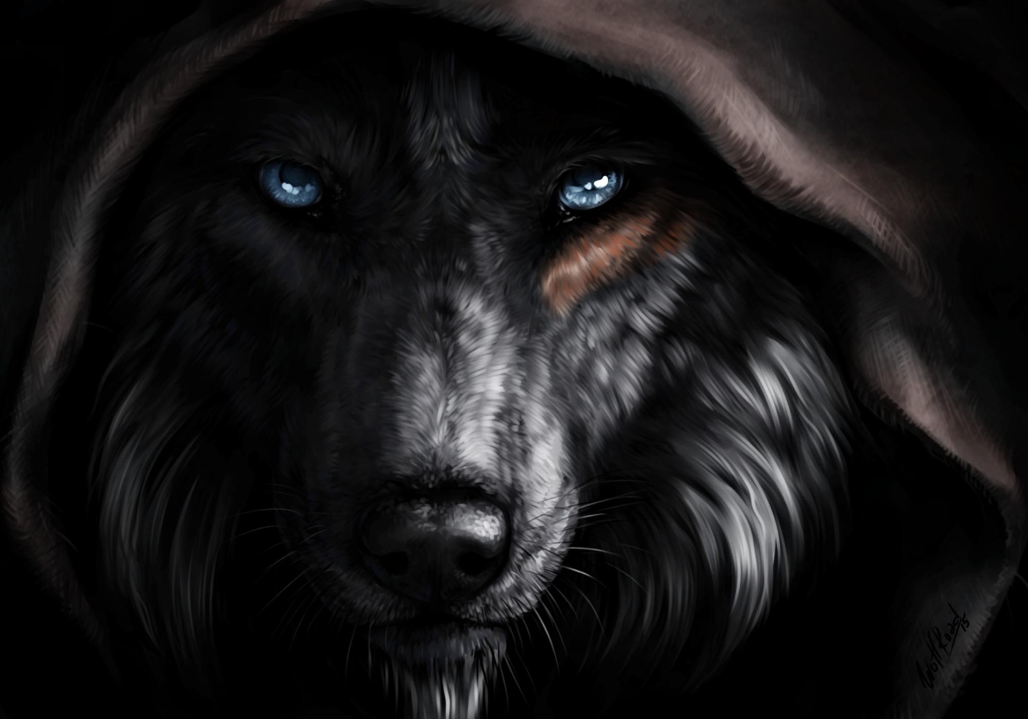 White Wolf Black Dog Artwork