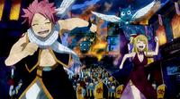 Natsu, Lucy, and Happy running from Rune Knights