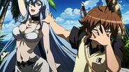 Esdeath showing her swimwear to Tatsumi (Akame ga Kill Ep 14)