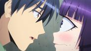 Kurusu stares into Manako's eye (Monster Musume Ep 11)