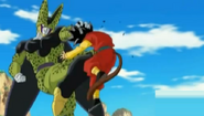 Cell grab hero by the hair and knees him in the stomach