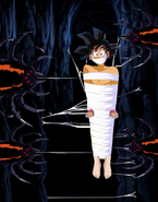 Gt kid goku tied up bare footed and gagged in web by spiders