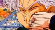 Goten punched trunks in the motuh