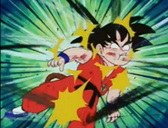 Tambrine kneed kid goku in the stomach3
