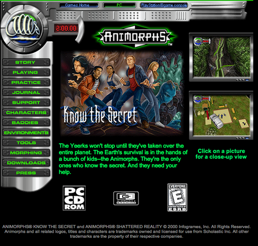 File:Animorphs know the secret game on scholastic web site.png