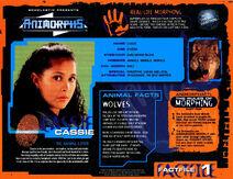Animorphs UK VHS 1.2 inside fact file Cassie