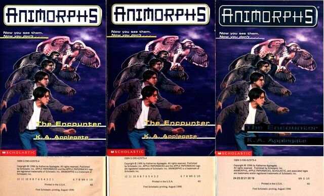 File:Animorphs encounter 3 different printings cover and copyright page.jpg