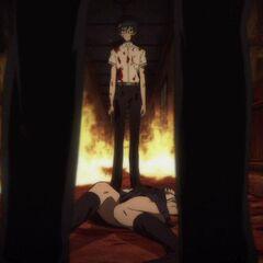 A furious Kouichi confronts Tomohiko over Aki's body.