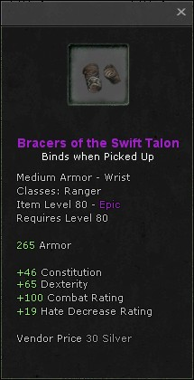 Bracers of the swift talon
