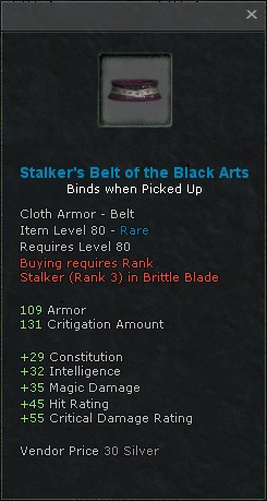 Stalkers belt of the black arts