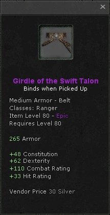 Girdle of the swift talon