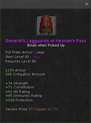 Generals legguards of heavens pass