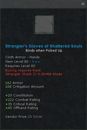 Stranglers gloves of shattered souls
