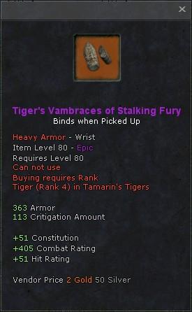 Tigers vambraces of stalking fury