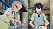 Konekomaru and Rin making a cake