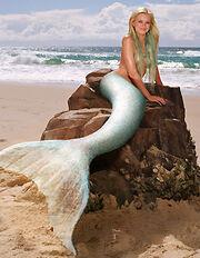 Aquamarine on a rock