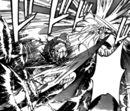 Tatara extending his blade to attack Jin