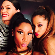 Ariana, Nicki, & Jessie on the set of Bang Bang