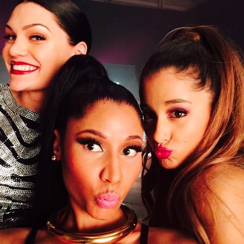 File:Ariana, Nicki, & Jessie on the set of Bang Bang.png
