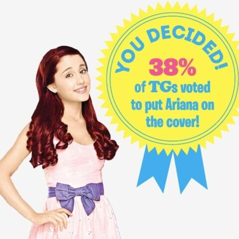 In March 2014, via an online poll, 38% of people voted for Ariana to be on the cover of <i>Total Girl Philippines</i>.