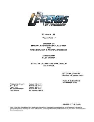 File:DC's Legends of Tomorrow script title page - Pilot, Part 1.png