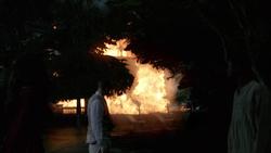 Jefferson Jackson, Amaya, and the slaves watch Collins Plantation burn