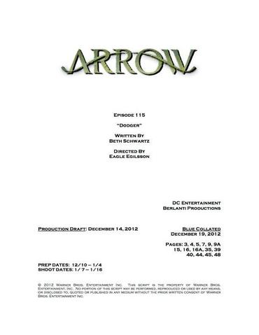 Archivo:Arrow script title page - Dodger.png
