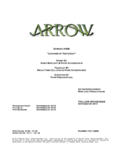 Arrow script title page - Legends of Yesterday