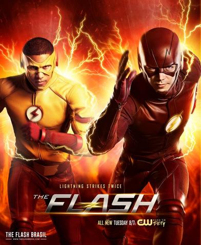 File:The Flash season 3 poster - Lightning strikes twice.png